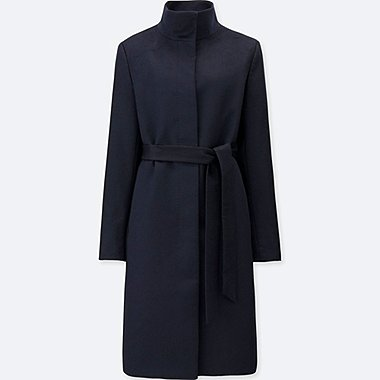 WOMEN CASHMERE BLENDED STAND COLLAR COAT, NAVY, medium