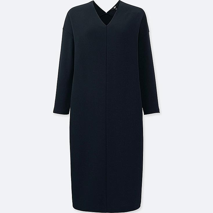 WOMEN LIGHTWEIGHT PONTE 3/4 SLEEVE DRESS, NAVY, large