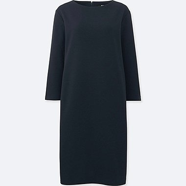 WOMEN CUT AND SEWN SHIFT 3/4 SLEEVE DRESS