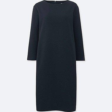 WOMEN 3/4 SLEEVE SHIFT DRESS, NAVY, medium