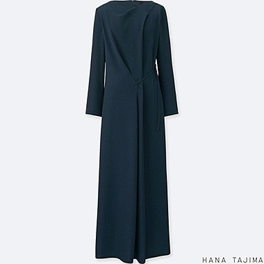 WOMEN TUCK LONG-SLEEVE LONG DRESS, NAVY, medium