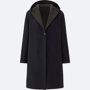 WOMEN DOUBLE FACE HOODED COAT