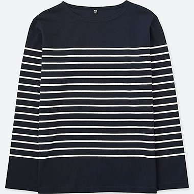 MEN WASHED STRIPED BOAT NECK LONG SLEEVE T-SHIRT
