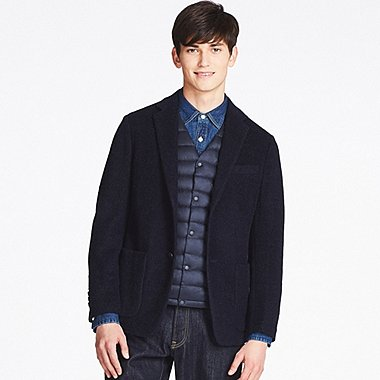 MEN WOOL-BLENDED COMFORT JACKET, NAVY, medium