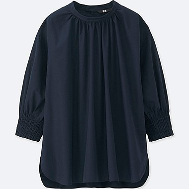WOMEN EXTRA FINE COTTON 3/4 SLEEVE GATHER BLOUSE
