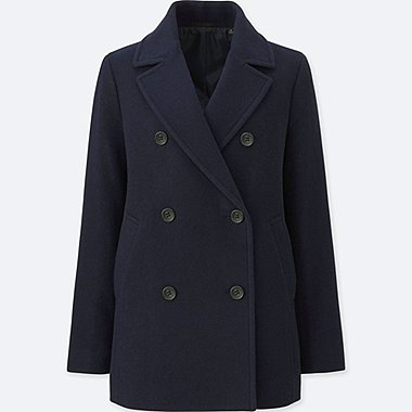 WOMEN WOOL BLEND PEA COAT