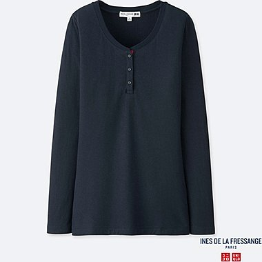 INES - T-SHIRT COL HENLEY MANCHES LONGUES FEMME