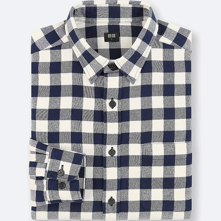 Men flannel checked long sleeve shirt uniqlo us for Flannel checked long sleeve shirt