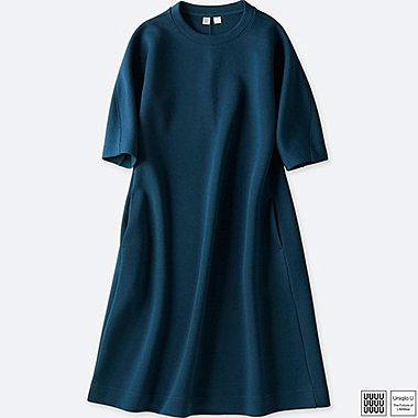 WOMEN UNIQLO U WOOL BLEND SWEAT 3/4 SLEEVE DRESS