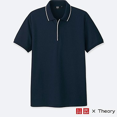 MEN DRY COMFORT SHORT-SLEEVE ZIP POLO SHIRT (THEORY), NAVY, medium