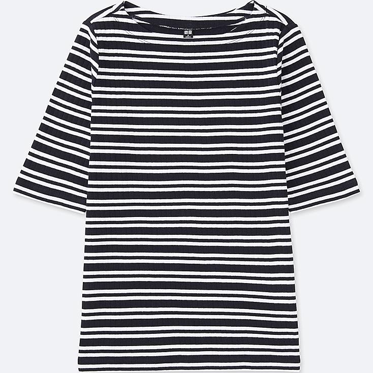 WOMEN STRIPED RIBBED BOAT NECK HALF-SLEEVE T-SHIRT, NAVY, large