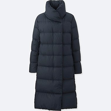 WOMEN LIGHTWEIGHT DOWN VOLUME COLLAR COAT, NAVY, medium