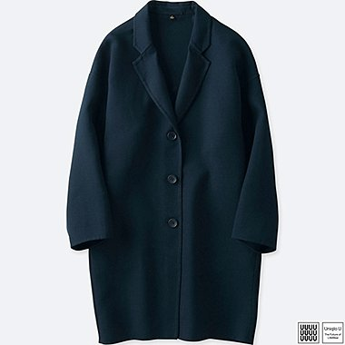 WOMEN U DOUBLE FACE CHESTER COAT, NAVY, medium