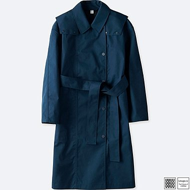 WOMEN U BLOCKTECH TRENCH COAT, NAVY, medium