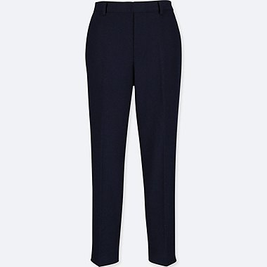 WOMEN TWEED ANKLE-LENGTH PANTS, NAVY, medium