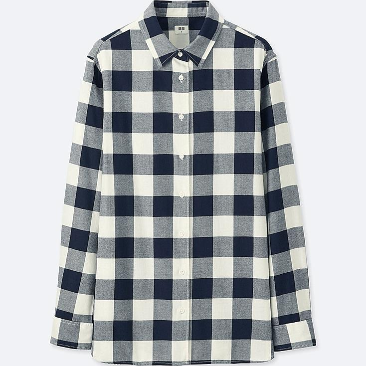 Women flannel checked long sleeve shirt uniqlo us for Flannel checked long sleeve shirt
