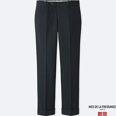 WOMEN IDLF WOOL-BLEND PANTS, NAVY, medium
