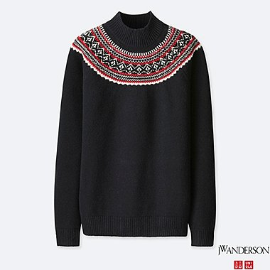 MEN J.W.ANDERSON FAIR ISLE MOCK NECK SWEATER