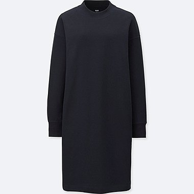 WOMEN SWEATSHIRT DRESS, NAVY, medium