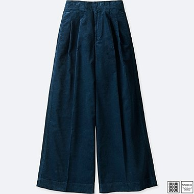 WOMEN UNIQLO U EXTRA LONG CORDUROY WIDE LEG TROUSERS