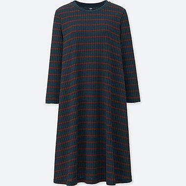 WOMEN CUT AND SEWN RIBBED STRIPED 3/4 SLEEVE DRESS