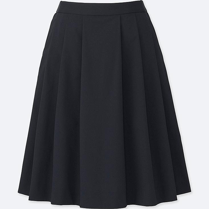 WOMEN HIGH-WAIST DRY STRETCH TUCKED SKIRT, NAVY, large