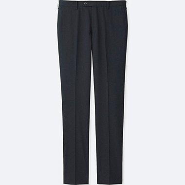 Men Stretch Wool Slim Fit Flat Front Pants Navy Medium
