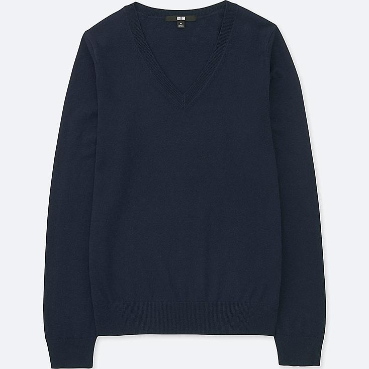 WOMEN COTTON CASHMERE V-NECK SWEATER, NAVY, large