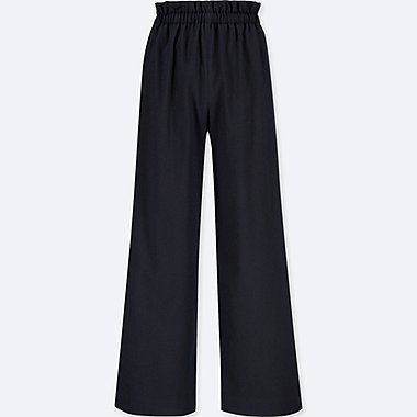 WOMEN HIGH WAIST GATHERED WIDE LEG TROUSERS