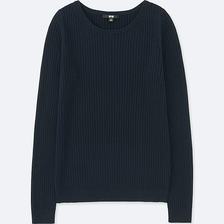 WOMEN COTTON CASHMERE RIBBED SWEATER, NAVY, large