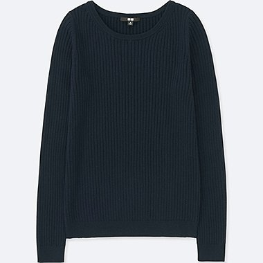 WOMEN COTTON CASHMERE RIBBED SWEATER, NAVY, medium