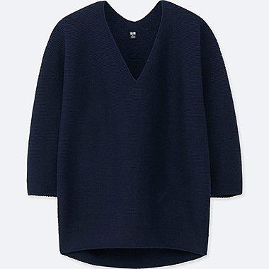 WOMEN 100% COTTON 3D Cocoon Silhouette 3/4 Sleeve Sweater
