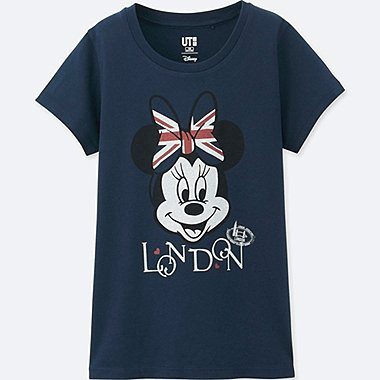 GIRLS MICKEY TRAVELS SHORT-SLEEVE GRAPHIC T-SHIRT, NAVY, medium