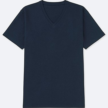 MEN PACKAGED DRY V-NECK SHORT-SLEEVE T-SHIRT, NAVY, medium