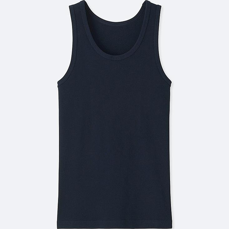MEN PACKAGED DRY RIBBED TANK TOP, NAVY, large
