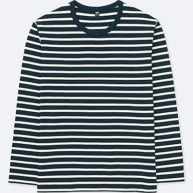 MEN WASHED STRIPED LONG-SLEEVE T-SHIRT, NAVY, medium