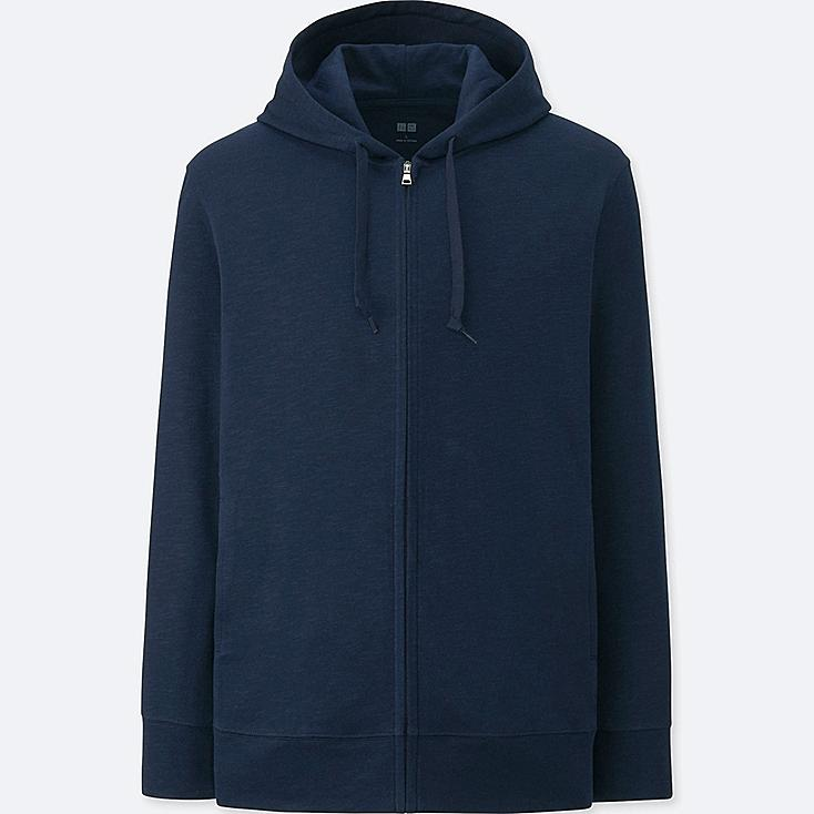 MEN AIRism FULL-ZIP HOODIE, NAVY, large