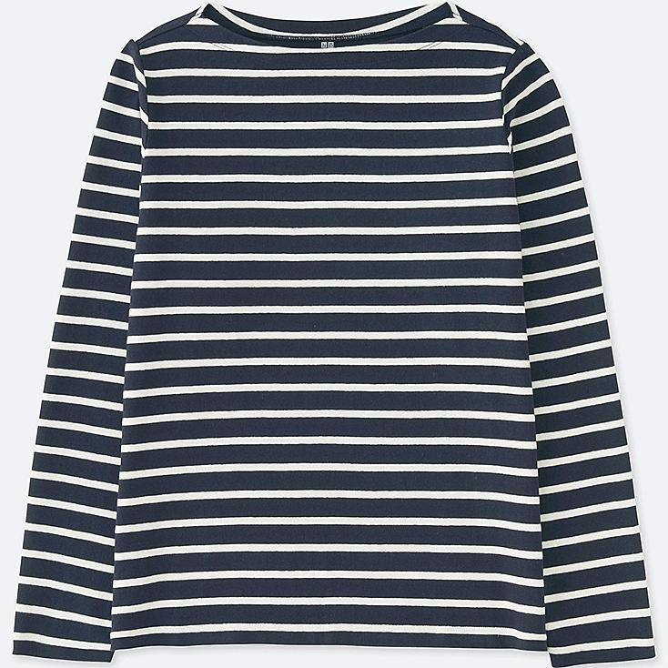 WOMEN STRIPED BOAT NECK LONG SLEEVE T-SHIRT, NAVY, large