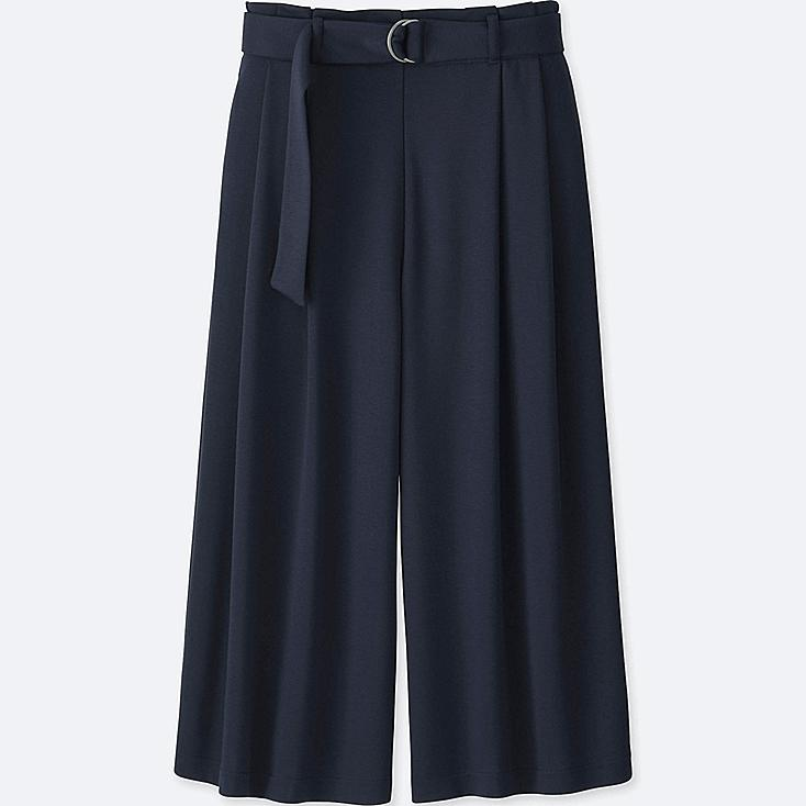 WOMEN BELTED WIDE CROPPED PANTS, NAVY, large