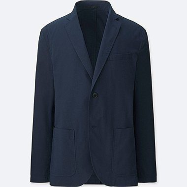 MEN DRY LIGHTWEIGHT SEERSUCKER JACKET, NAVY, medium
