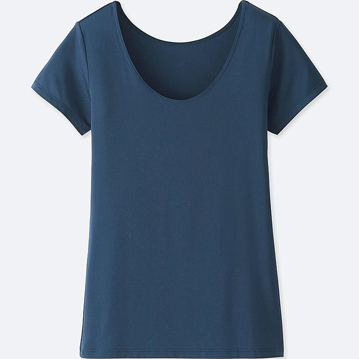 WOMEN AIRism SCOOP NECK SHORT-SLEEVE T-SHIRT, NAVY, large