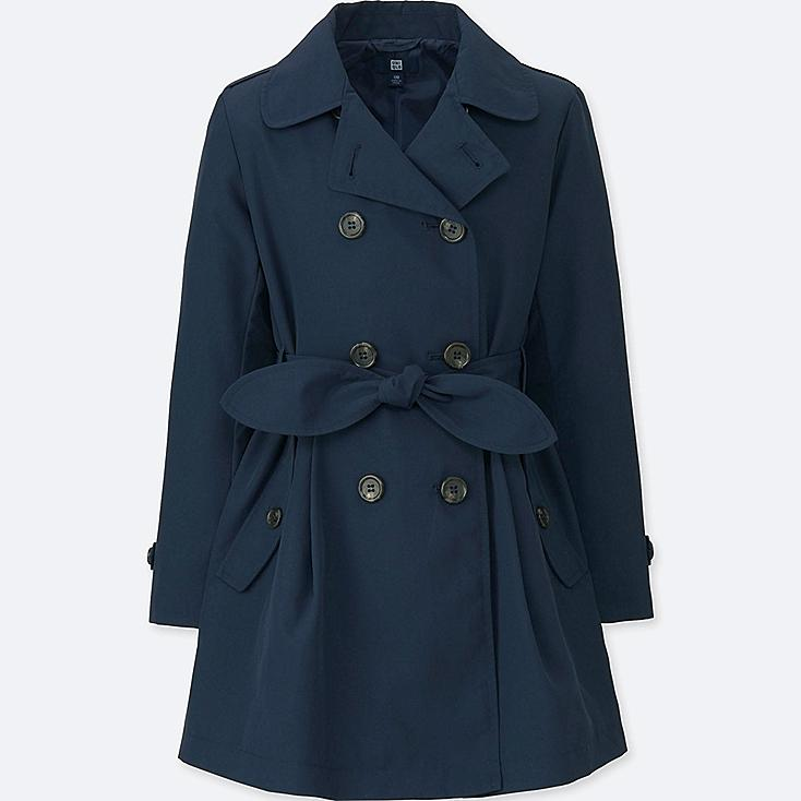 GIRLS TRENCH COAT, NAVY, large