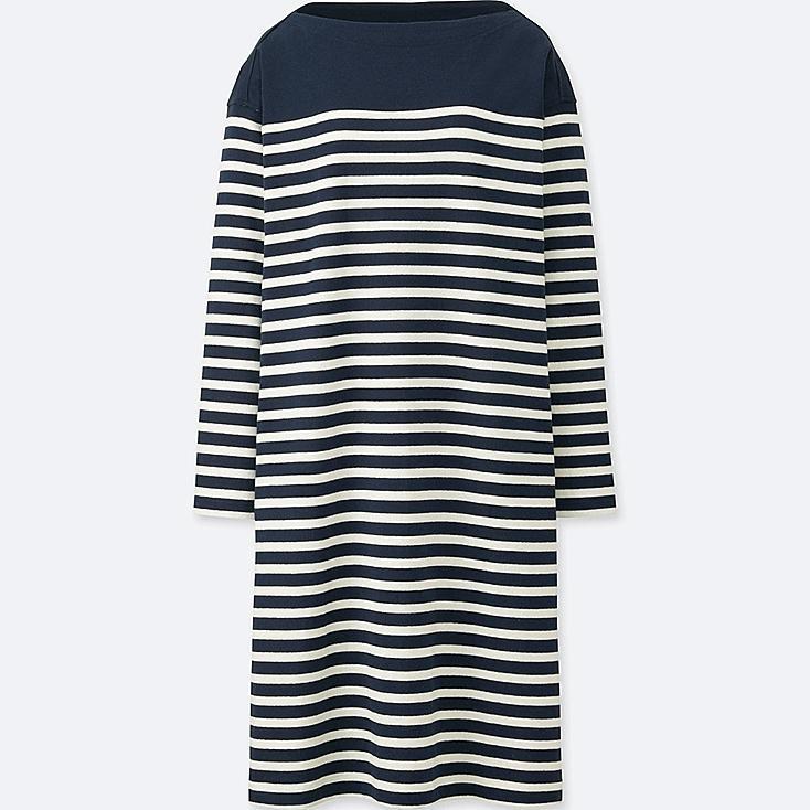 WOMEN COTTON STRIPED BOAT NECK LONG SLEEVE DRESS