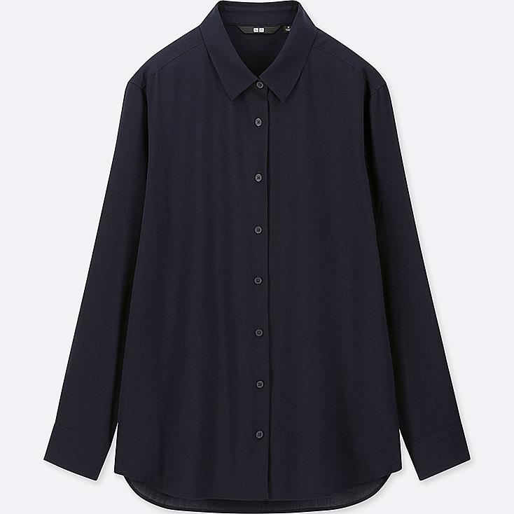WOMEN RAYON LONG-SLEEVE BLOUSE at UNIQLO in Brooklyn, NY | Tuggl