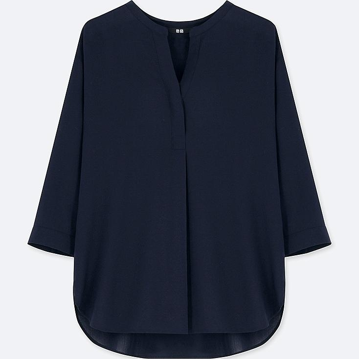 WOMEN RAYON SKIPPER COLLAR 3/4 SLEEVE BLOUSE, NAVY, large