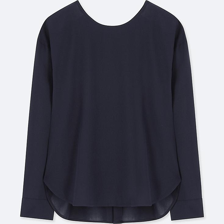 WOMEN RAYON LONG-SLEEVE T-SHIRT BLOUSE, NAVY, large