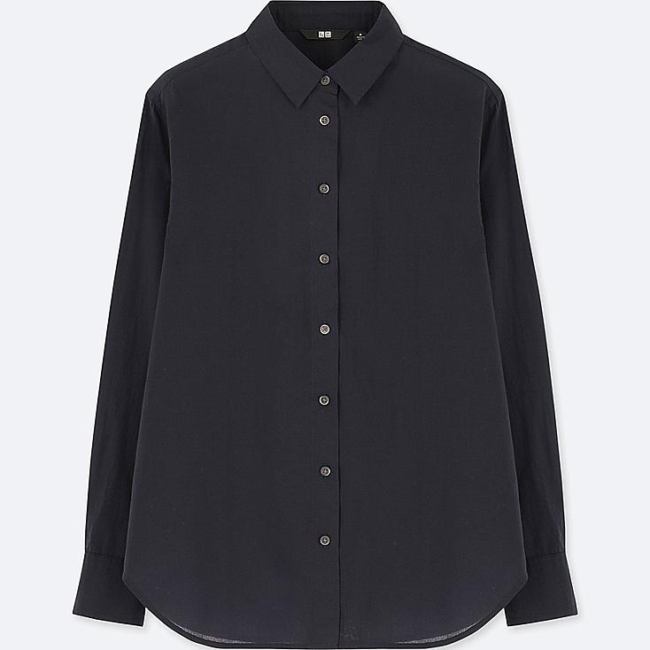 WOMEN SOFT COTTON LONG SLEEVE SHIRT (ONLINE EXCLUSIVE), NAVY, large