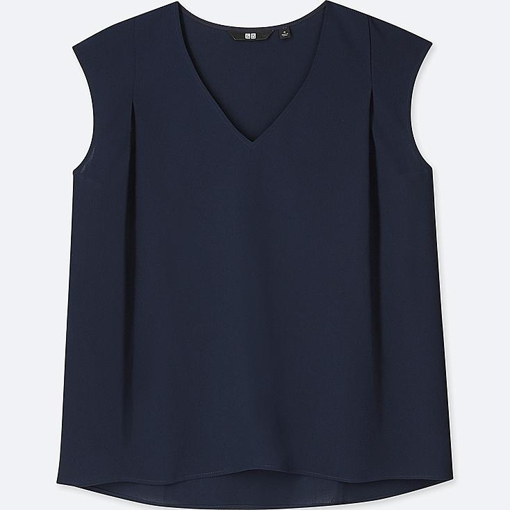 WOMEN DRAPE V-NECK SLEEVELESS BLOUSE at UNIQLO in Brooklyn, NY | Tuggl