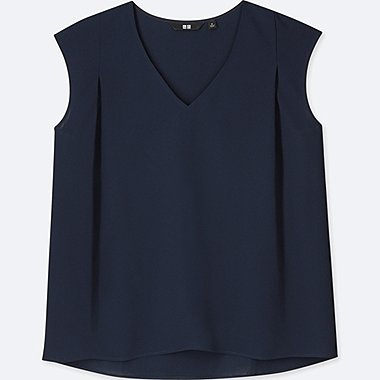 WOMEN DRAPE V-NECK SLEEVELESS BLOUSE, NAVY, medium