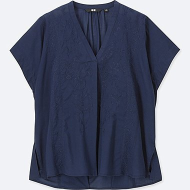 WOMEN COTTON EMBROIDERY SHORT-SLEEVE BLOUSE, NAVY, medium
